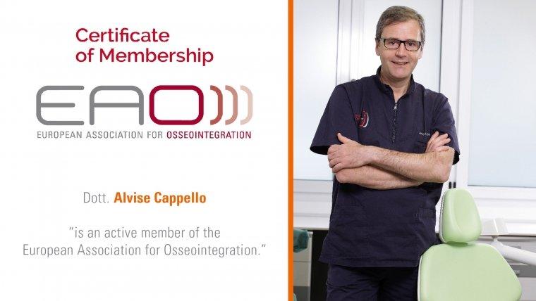 Dott. Alvise Cappello membro dell'EAO – European Association for Osseointegration